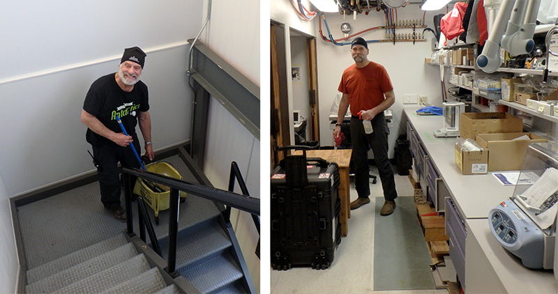 Mopping the Biolab stairs and cleaning the labs