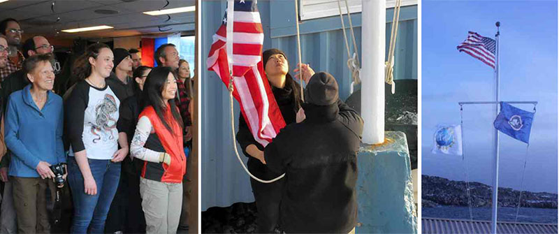Images of the flag raising at the station 50th anniversary ceremony