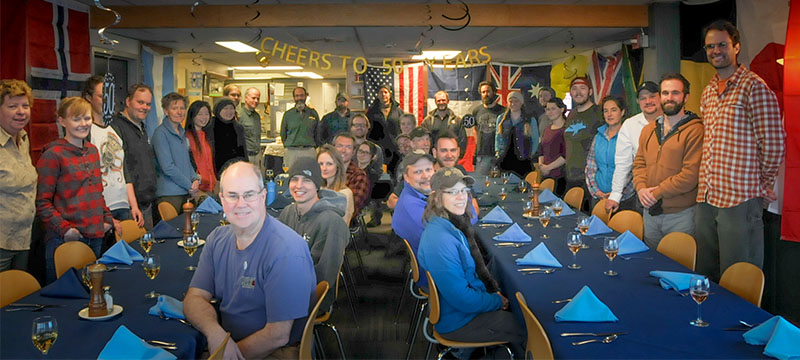 The Palmer Station community at the station's 50th anniversary celebration