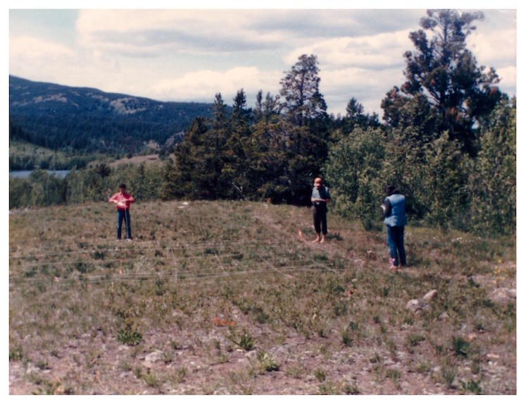 Mumford participation in UBC Anthropology Dept. 1985 archaeology field school: gridding out a lithic scatter near Eagle Lake, Chilcotin region, BC, Canada (Photo: G. Mumford).