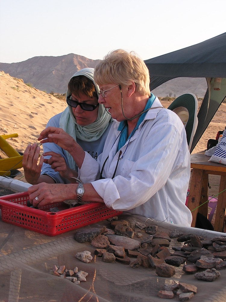 Student volunteer working with project ceramicist (R. Hummel) at Ras Budran, South Sinai, during 2004 season (Photo: P. Carstens).