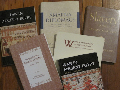 Selected books in Mumford & Sterne Library's collections pertaining to graduate topics in ancient Peace and Human Rights' topics.