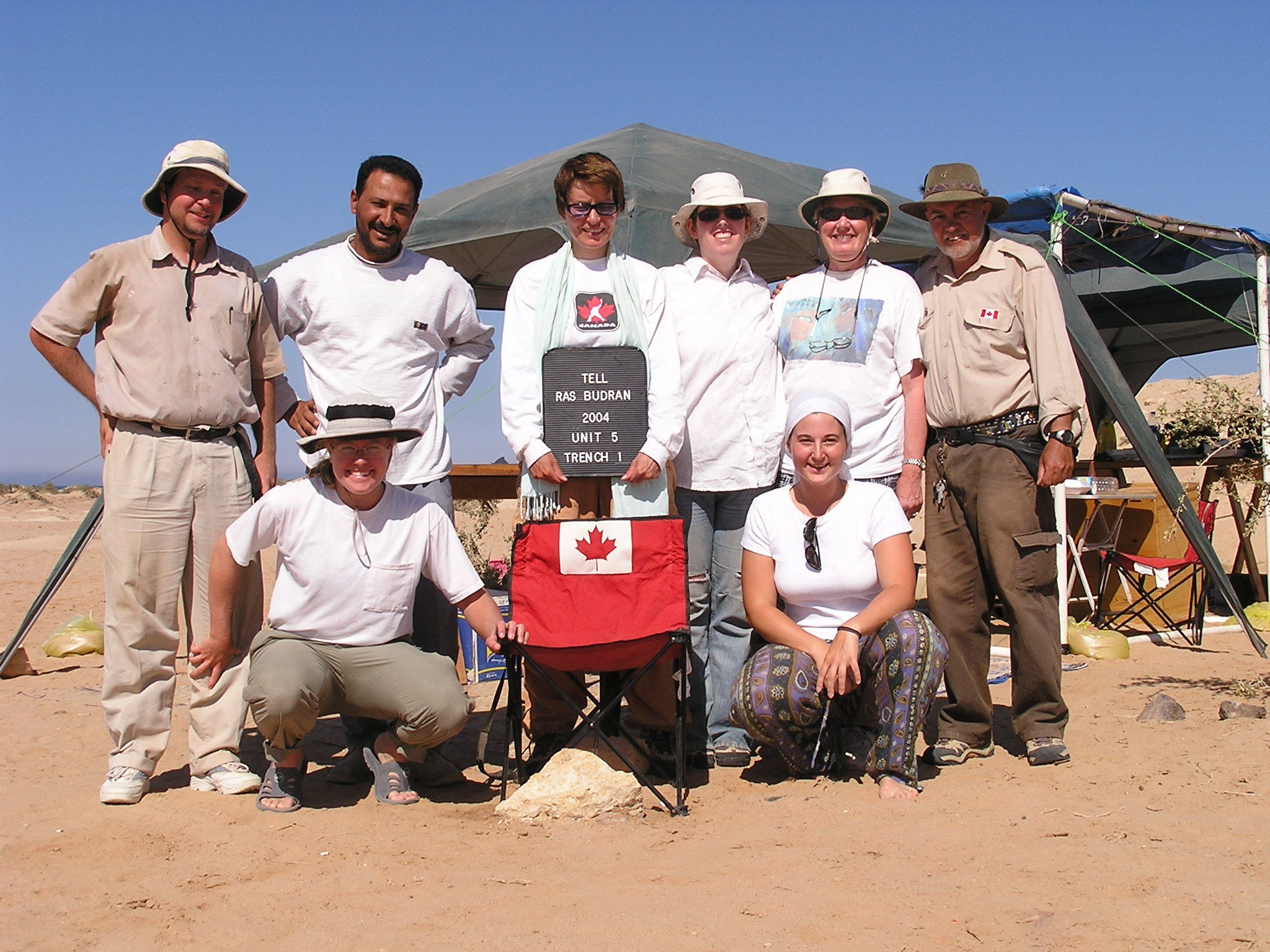 Ras Budran (South Sinai, Egypt) 2004 project members: G. Mumford, M. Rezk, D. Donnelly, Z. McQuinn, R. Hummel, and P. Carstens (left-right, back row), and S. Parcak and S. Christodoulou (left-right, front row) (Photo: Staff).