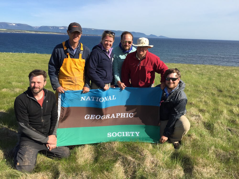 UAB/Nat.Geo./BBC/Pbs-Nova 2015 expedition to Point Rosee (Newfoundland, Canada): D. Bolender, F. Schwarz, S. Parcak, D. Gathings, G. Mumford, and C. Childs (left-right; photo: Staff). Project directed by S. Parcak, G. Mumford and F. Schwarz in conjunction with Newfoundland PAO.
