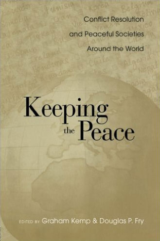 "The cover of ""Keeping the Peace,"" with an illustraiton of a globe."