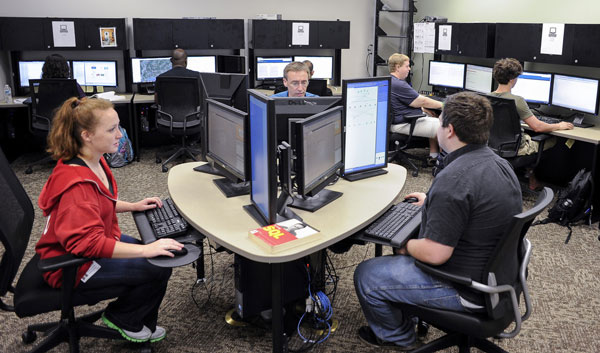 Several students in a UAB CIS computer lab.