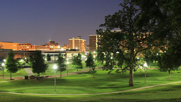The UAB campus at night.