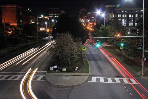 University Boulevard at night.