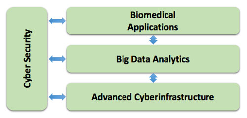 The four clusters are Cyber Security, Biomedical Applications, Big Data Analytics, and Advanced Cyberinfrastructure. The Cyber Security and Big Data Analytics clusters interact with the other three clusters. Biomedical Computing and Advanced Cyberinfrastructure do not interact.