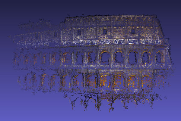 A point cloud of the Coliseum in Rome, extracted from multiple images gathered from the web, using structure from motion.
