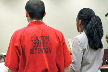 Public defender Brandy Alexander at her client's arraignment in Clayton County Court in 2013
