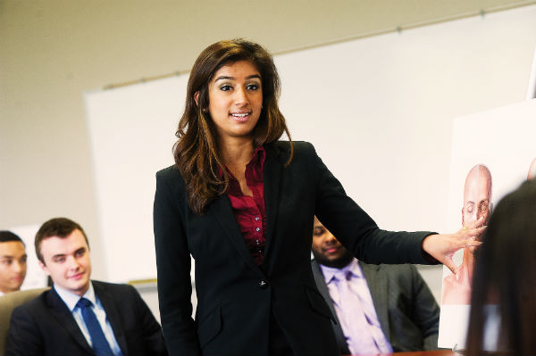 Students engage in a mock trial exercise