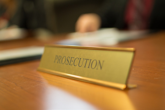 prosecution nameplate in mock trial exercise