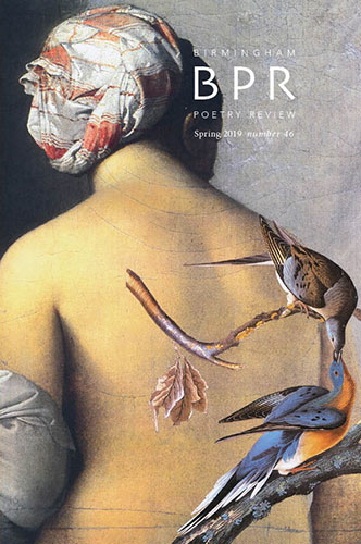 Cover of BPR 46, a painting of a woman's bare back with illustrated birds superimposed.