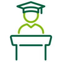 Graphic of a graduating student standing at a podium