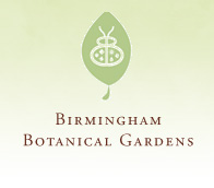 Birmingham Botanical Gardens logo (a leaf with a ladybug on it).