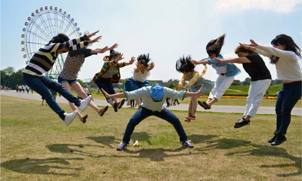 Students in Japan reinacting an anime fight scene. Image courtesy of George Northen.
