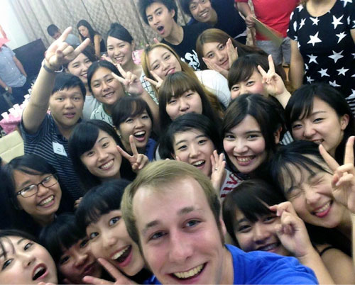 UAB student George Northen and a group of Japanese students at Ibaraki University.