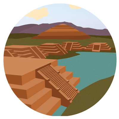 Illustration of Aztec ruins.