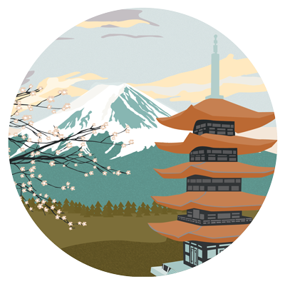 Illustration of a traditional Japanese temple in front of a snow-capped mountain.