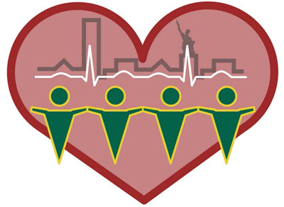 Illustration: A heart around a simple skyline of Birmingham, a medical heartbeat monitor line, and four people holding hands.
