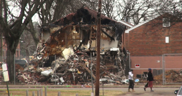 Destroyed apartment building in Gate City.