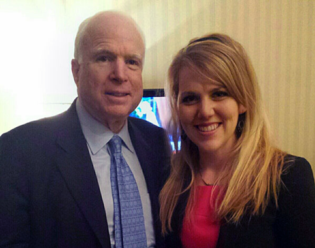 Rachel Hicks (at right) with Senator John McCain during his visit to the U.S. Embassy in Ukraine.