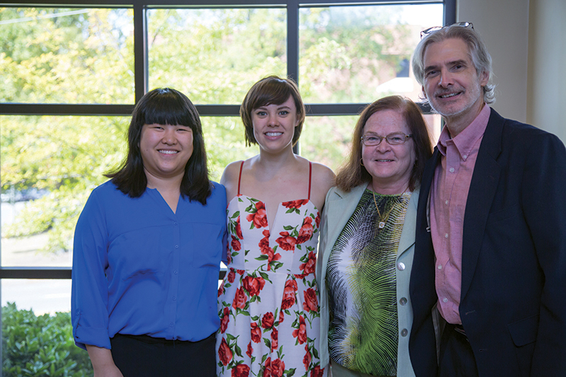 Lee and Brenda Baumann with Stephanie (Gracie) Giang and Alexandra Fry at the 2015 Scholarship and Awards Luncheon.