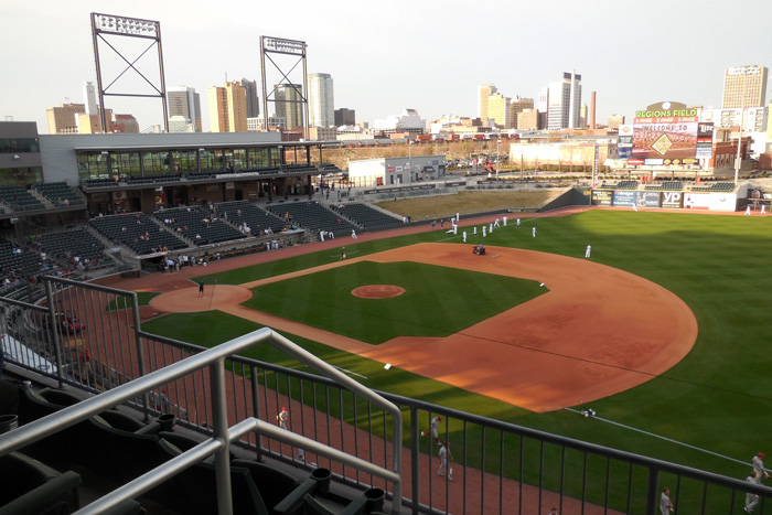 A view of Regions Field and the Birmingham skyline.
