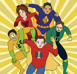Cartoon of the CIA-JFR staff as superheroes.