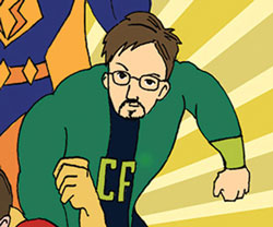Cartoon of Gary Warner as a superhero.
