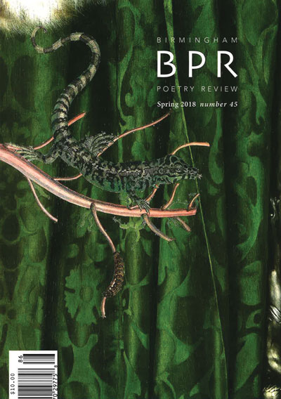 BPR 2018 cover featuring a lizard and centipede on a branch in front of green damask fabric.