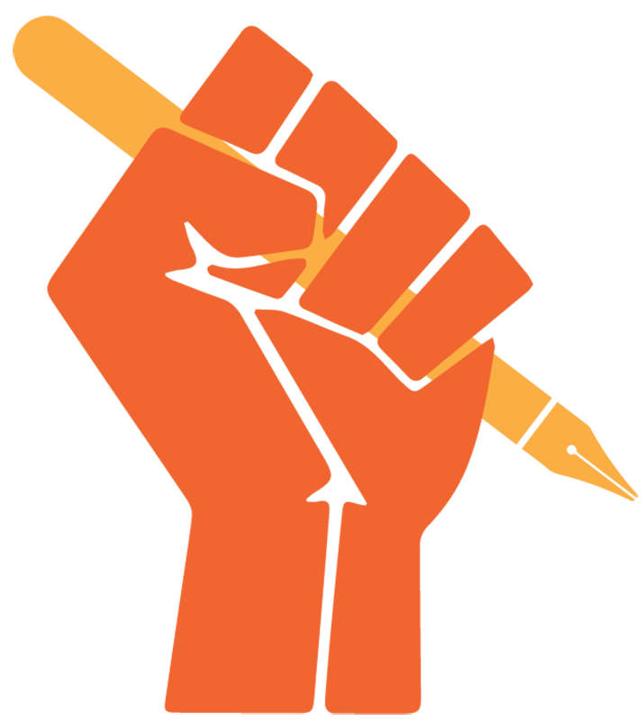 Illustration of a hand holding pen, in a powerful fist pose.