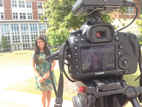 Student being filmed by UAB Digital Media.