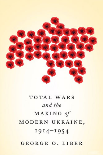 "Cover of ""Total Wars,"" featuring a stylized Ukraine made of red poppies."
