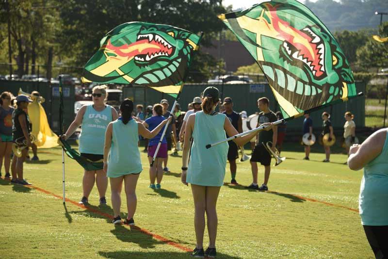 Members of the UAB Color Guard at band camp.