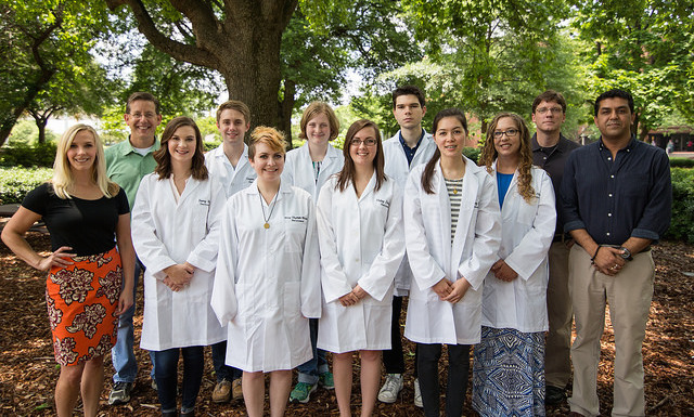 Honors Neuroscience Summer Research Academy students and UNP directors, from left to right: Dr. Cristin Gavin, Dr. Scott Wilson, Remy Meir, Cooper Bailey, Mary-Elizabeth Winslett, Stacey Niver, Haley Edwards, Ben Boros, Courtney Walker, Danielle Hurst, Dr. David Knight, and Dr. Rajesh Kana