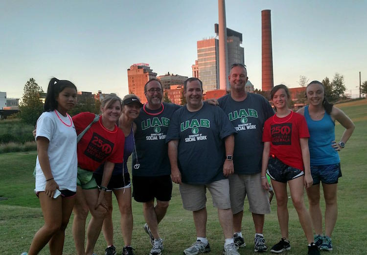 UAB Department of Social Work faculty, students and friends at the Magic City Aids Walk and Fun Run.