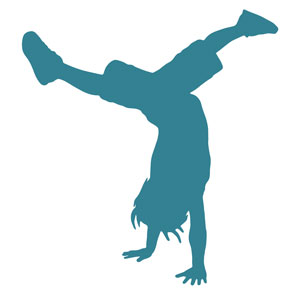 Illustration of a child performing a handstand.