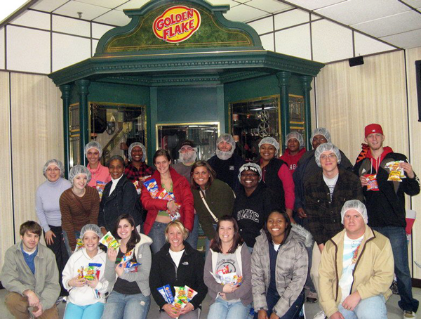 Students of SOC 360: Sociology of Work visiting a Golden Flake chip factory.