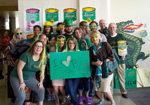 Faculty, staff, and students celebrating homecoming, 2014.