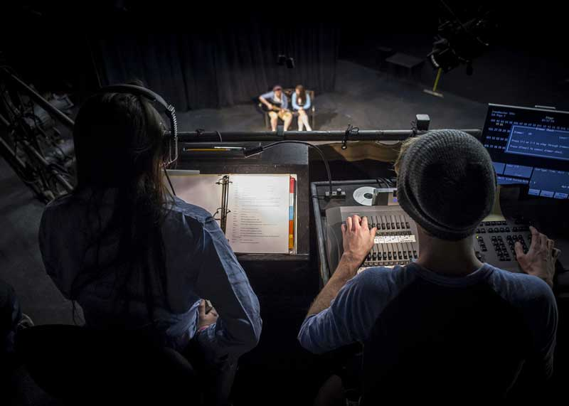 UAB students operating light board for theatre production.