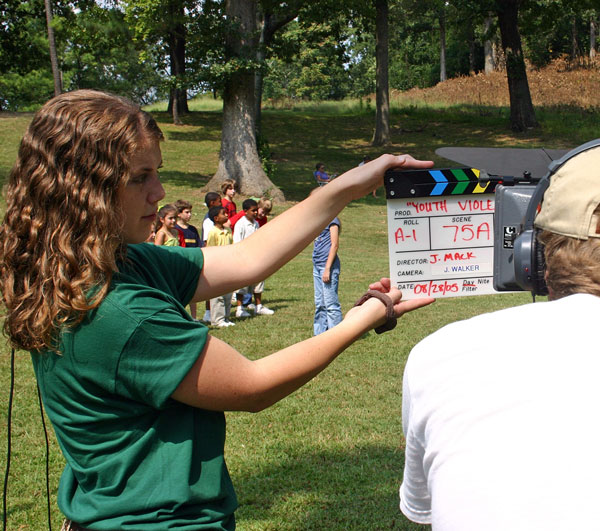 UAB students using film equipment to shoot video.