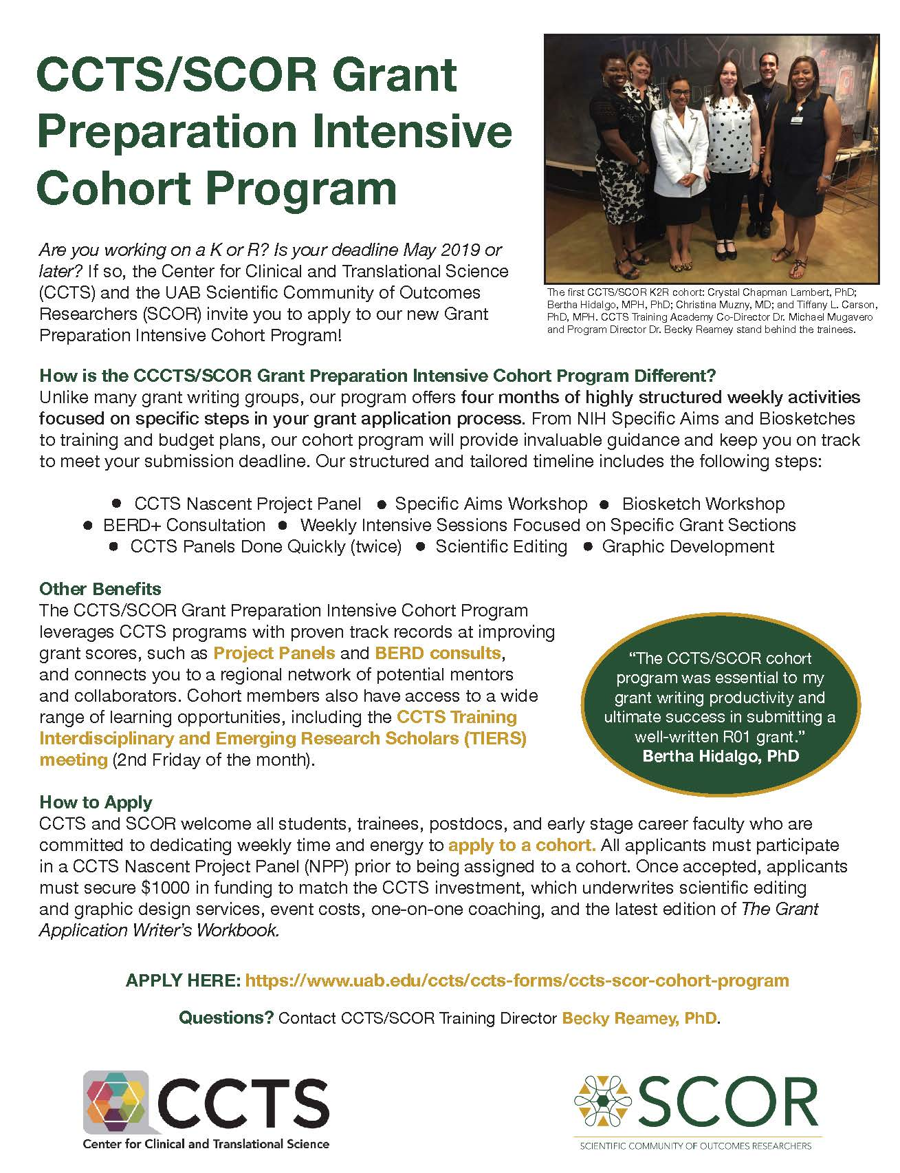 CCTS SCOR Grant Preparation Intensive Cohort Program V12