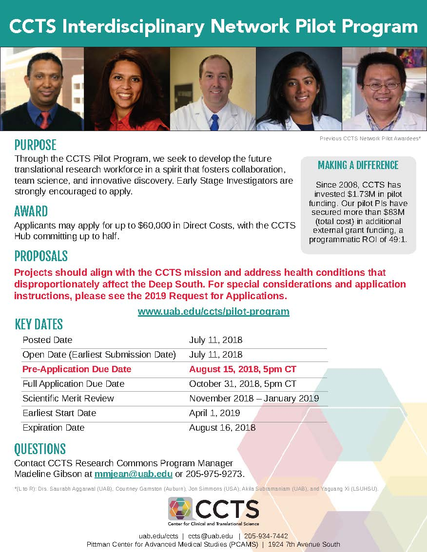 CCTS Interdisciplinary Network Pilot Program Flyer V9