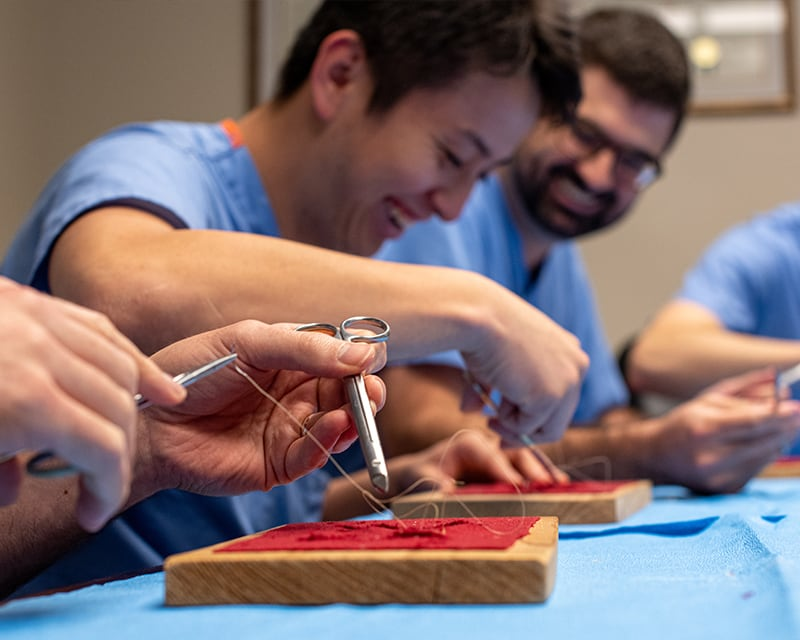Dentists simulating stitching a wound opening with wood and fabric.