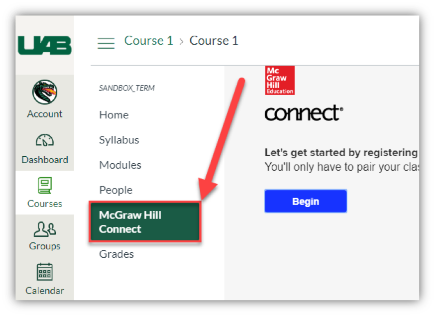 Screen grab of McGraw Hill Connect button in Canvas.