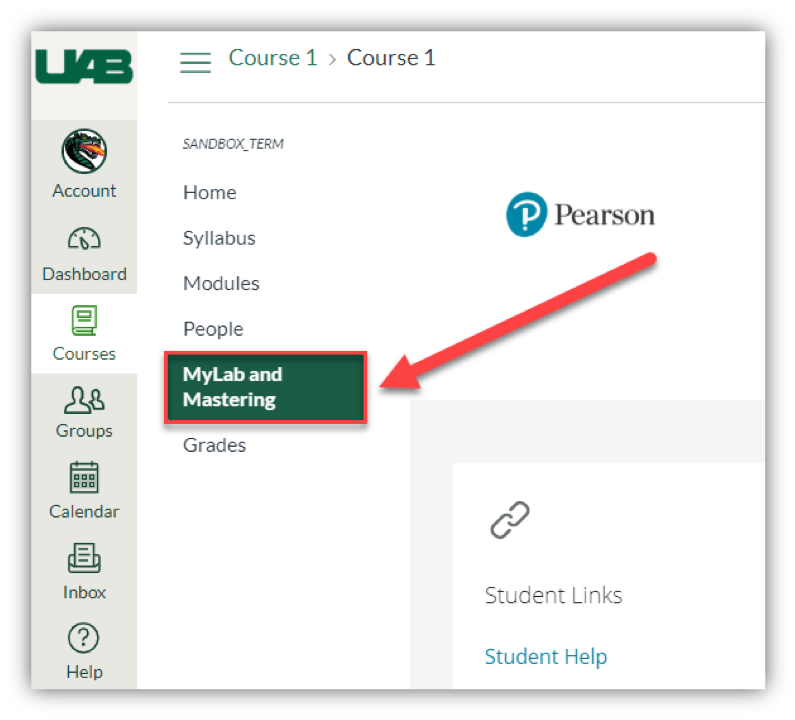 Screen grab of Pearson MyLab button in Canvas.