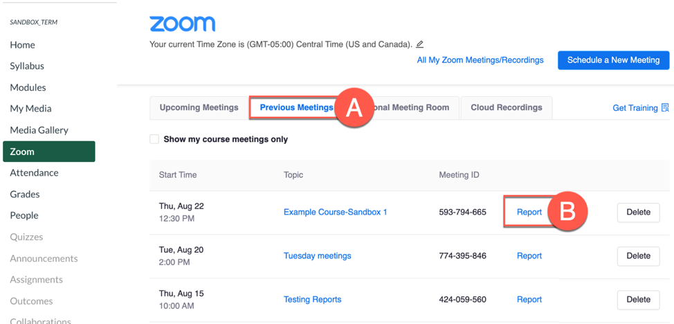 Screenshot of how to create a zoom attendance report.