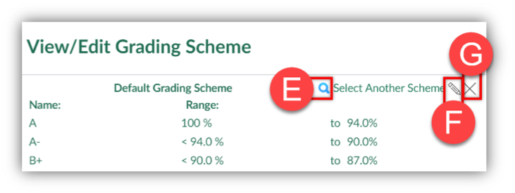 Settings -- Choose Grading Scheme screen.